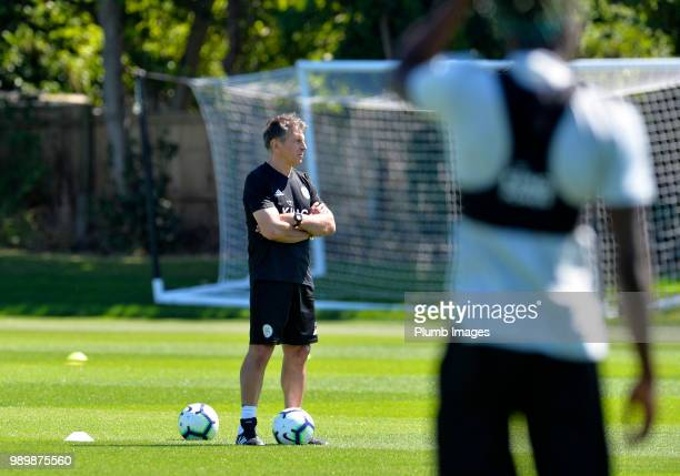 Leicester City manager Claude Puel during training as Leicester City Players Return to PreSeason Training at Belvoir Drive Training Complex on July...