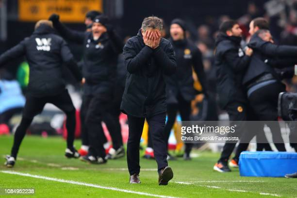 Leicester City manager Claude Puel looks on during the Premier League match between Wolverhampton Wanderers and Leicester City at Molineux on January...