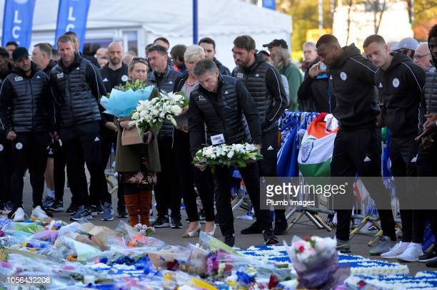 Leicester City manager Claude Puel pays his respects following the death of club owner Vichai Srivaddhanaprabha at King Power Stadium on November 02...