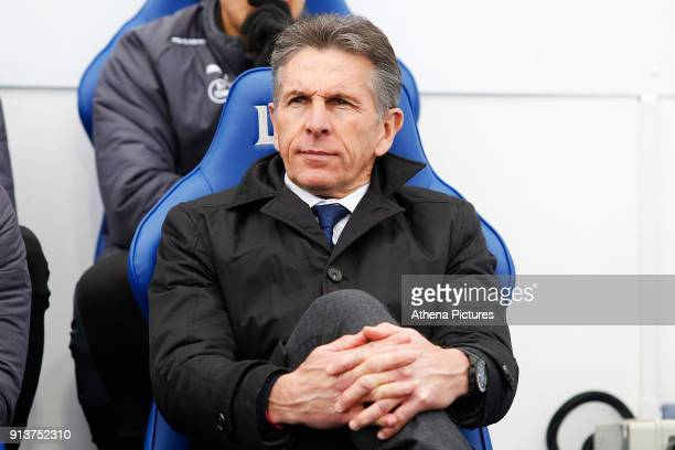 Leicester City manager Claude Puel prior to kick off of the Premier League match between Leicester City and Swansea City at the Liberty Stadium on...
