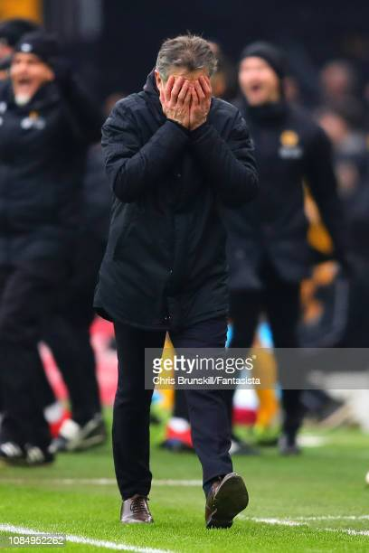 Leicester City manager Claude Puel reacts following Wolverhampton Wanderers's fourth goal during the Premier League match between Wolverhampton...