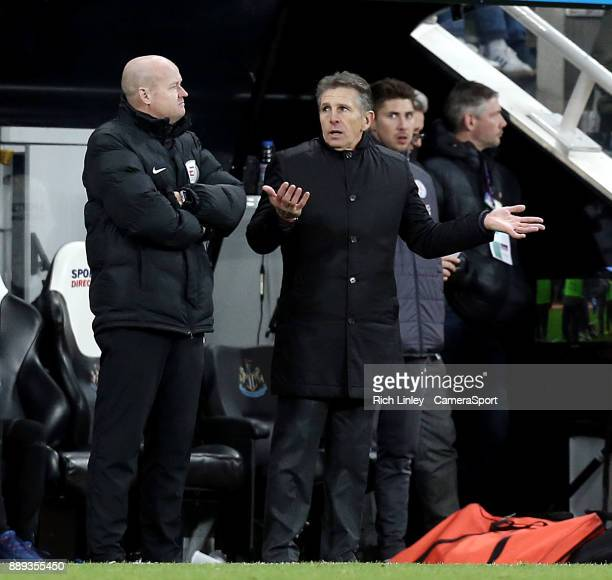Leicester City manager Claude Puel remonstrates with the fourth official during the second half during the Premier League match between Newcastle...