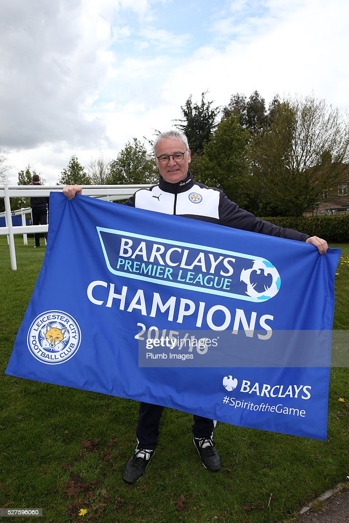 Leicester City manager, Claudio Ranieri celebrates winning the Premier League Title during a training session at the Leicester City Training Ground on May 3, 2016 in Leicester, United Kingdom.