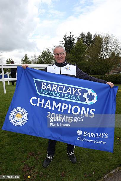 Leicester City manager Claudio Ranieri celebrates winning the Premier League Title during a training session at the Leicester City Training Ground on...
