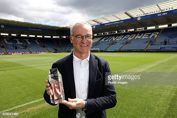 Leicester City manager Claudio Ranieri collects the LMA team performance award for his teams display against Swansea City during the Leicester City...