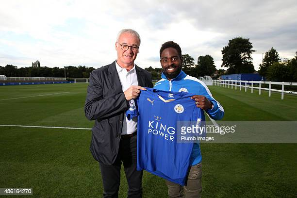 Leicester City manager Claudio Ranieri unveils their new signing Nathan Dyer at the Belvoir Drive Training Complex on September 01, 2015 in...