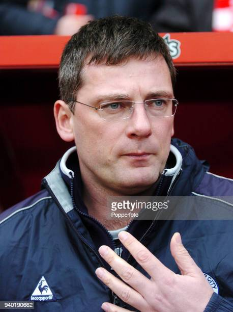 Leicester City manager Craig Levein looks on during the FA Cup Fifth Round match between Charlton Athletic and Leicester City at The Valley in London...