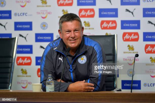 Leicester City manager Craig Shakespeare during the Leicester City press conference at King Power Stadium on August 18, 2017 in Leicester, United...