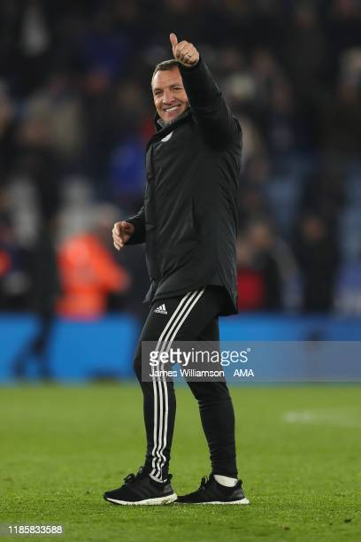 Leicester City manager head coach Brendan Rodgers at full time of the Premier League match between Leicester City and Everton FC at The King Power...