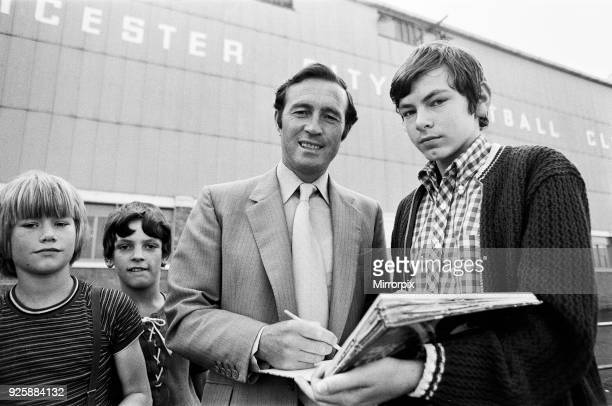 Leicester City manager Jimmy Bloomfield signs autographs for fans outside Filbert Street 29th July 1971