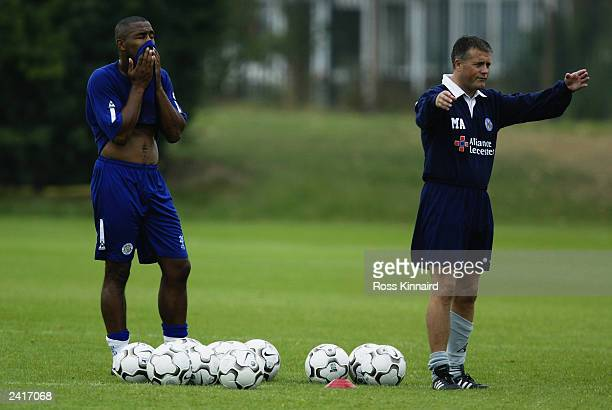 Leicester City manager Micky Adams and Les Ferdinand of Leicester City during the Leicester City open day on August 12 2003 at their Blevoir Drive...