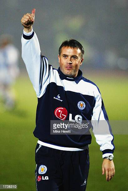 Leicester City manager Micky Adams gives the thumbs up to the fans of his former club Brighton and Hove Albion before the Nationwide League Division...