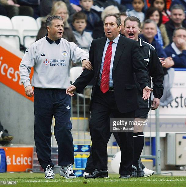 Leicester City manager Micky Adams stands with a concerned Liverpool Manager Gerrard Houillier during the FA Barclaycard Premiership match between...