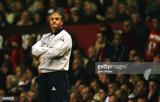 Leicester City Manager Micky Adams watches from the touchline during the FA Barclaycard Premiership match between Manchester United and Leicester...