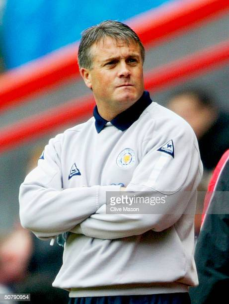 Leicester City manager Micky Adams watches on against Charlton Athletic during the FA Barclaycard Premiership match between Charlton Athletic and...