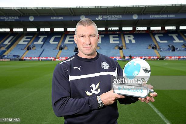 Leicester City manager Nigel Pearson is presented with the Barclays Manager of the Month Award for April 2015 at King Power Stadium on May 7 2015 in...