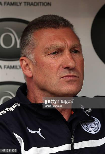 Leicester City manager Nigel Pearson looks on during the Barclays Premier League match between Burnley and Leicester City at Turf Moor on April 25...