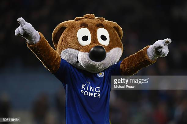 Leicester City mascot Filbert the Fox celebrates the win after the Barclays Premier League match between Leicester City and Stoke City at The King...