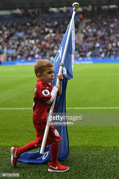 Leicester City mascot holds a flag before kick off during the Premier League match between Leicester City and Burnley at The King Power Stadium on...