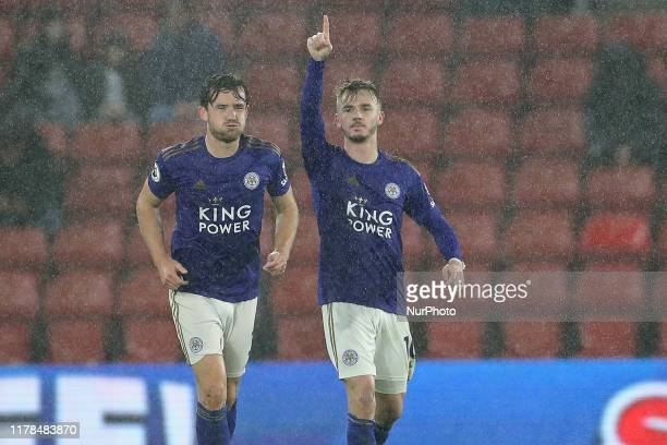 Leicester City midfielder James Maddison salutes the fans after scoring during the Premier League match between Southampton and Leicester City at St...