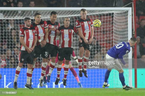 Leicester City midfielder James Maddison takes a free kick and scores Leicester's eighth during the Premier League match between Southampton and...