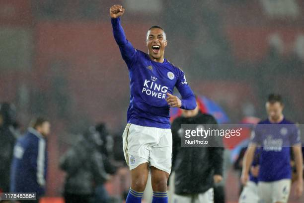 Leicester City midfielder Youri Tielemans celebrates a 9-0 win during the Premier League match between Southampton and Leicester City at St Mary's...