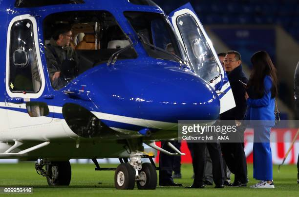 Leicester City owner Vichai Srivaddhanaprabha gets in his helicopter during the UEFA Champions League Quarter Final second leg match between...