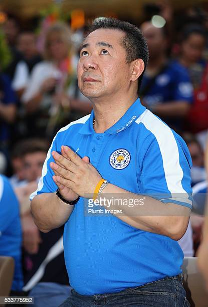Leicester City owner Vichai Srivaddhanaprabha prays as Premier League champions Leicester City visit Shwedagon Pagoda during their postseason tour of...
