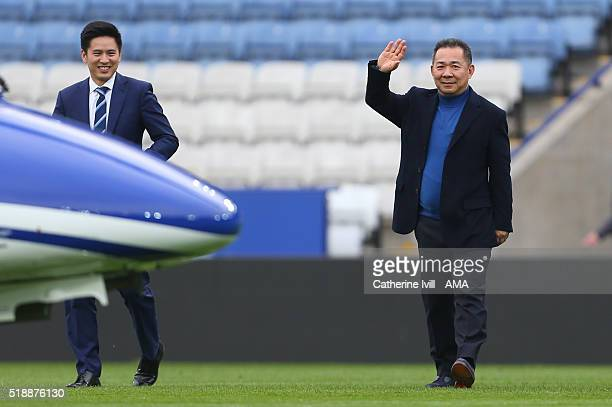 Leicester City owner Vichai Srivaddhanaprabha waves as he heads towards his helicopter on the pitch after the Barclays Premier League match between...