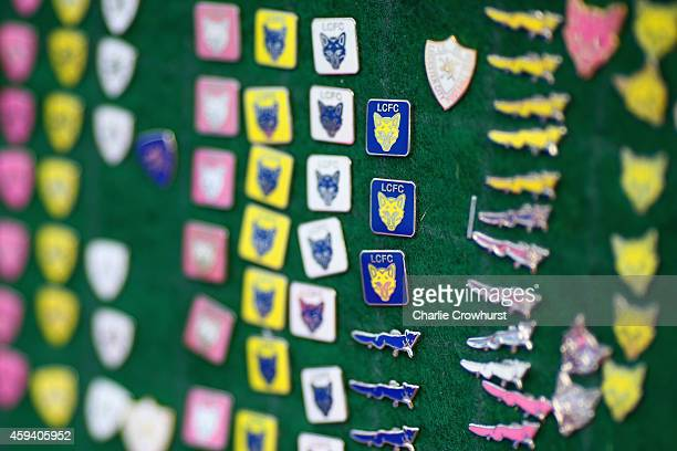 Leicester City pin badges on display prior to the Barclays Premier League match between Leicester City and Sunderland at The King Power Stadium on...
