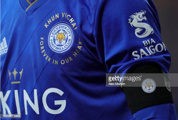 Leicester City player is seen wearing a arm band in memory of Vichai Srivaddhanaprabha during the Premier League match between Leicester City and...