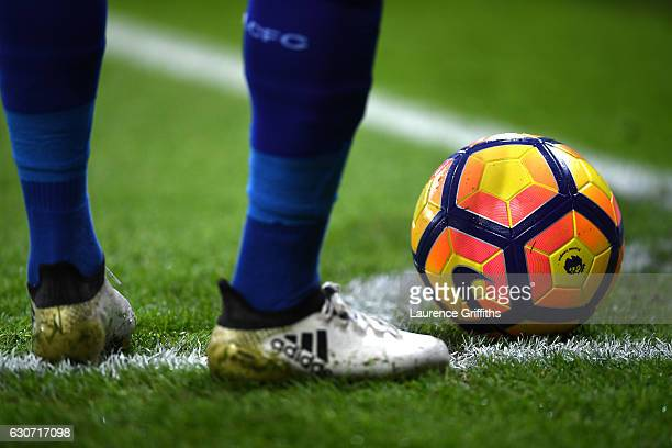 Leicester City player prepares to take a corner during the Premier League match between Leicester City and West Ham United at The King Power Stadium...