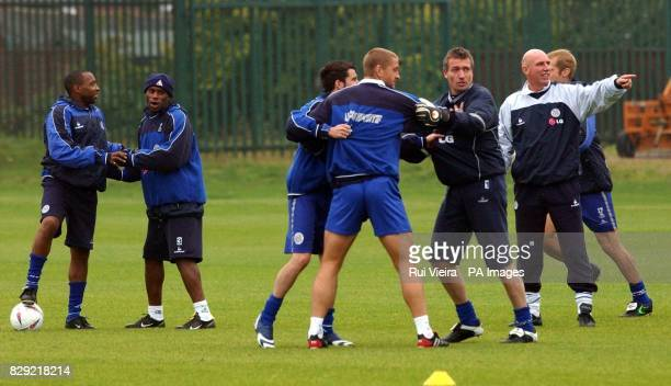 Leicester City players Andrew Impey Frank Sinclair Muzzy Izzet Matt Elliott Tim Flowers and Alan Cork during training at Leicester's training ground...