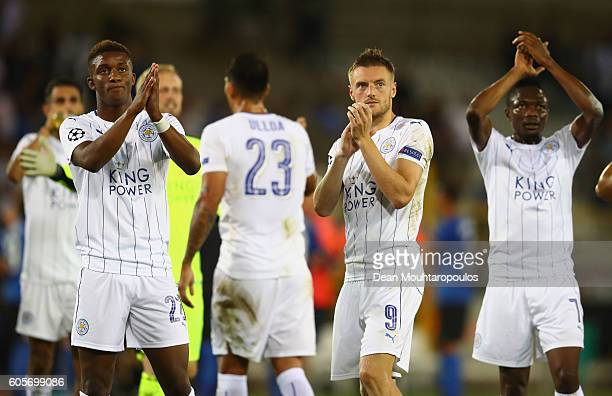 Leicester City players applaud fans during the UEFA Champions League match between Club Brugge KV and Leicester City FC at Jan Breydel Stadium on...