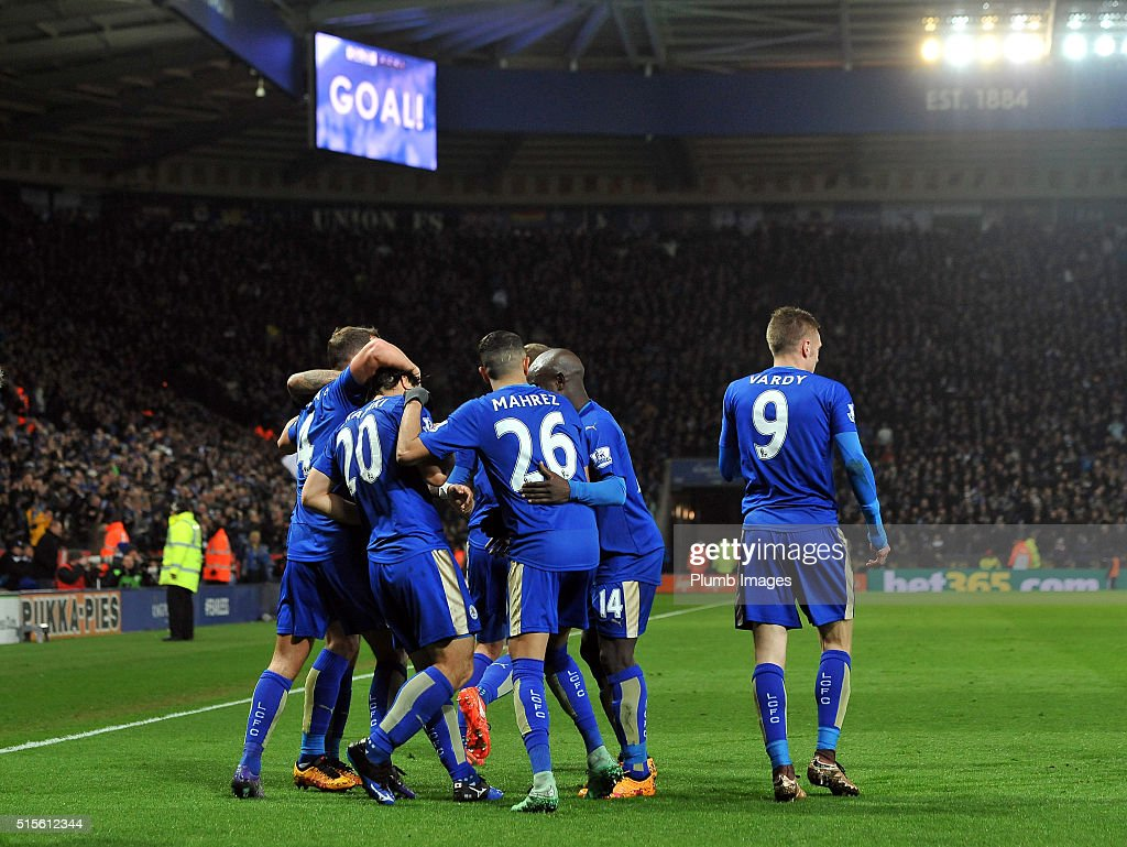 Leicester City players celebrate after Shinji Okazaki of Leicester City scores to make it 1-0 during the Barclays Premier League match between Leicester City and Newcastle United at the King Power Stadium on March 14 , 2016 in Leicester, United Kingdom.