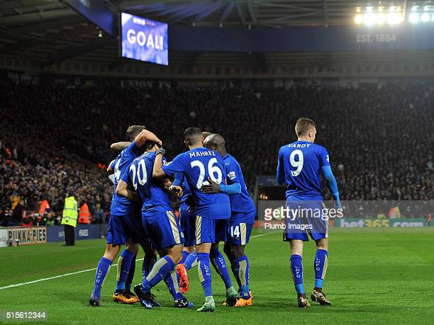 Leicester City players celebrate after Shinji Okazaki of Leicester City scores to make it 10 during the Barclays Premier League match between...