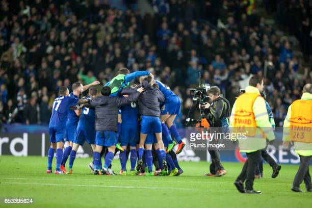 Leicester City players celebrate after the UEFA Champions League Round of 16 match between Leicester City and Sevilla FC at Leicester City Stadium on...