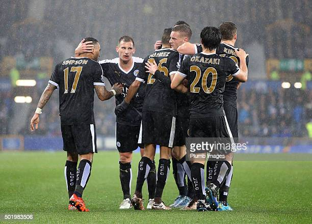 Leicester City players celebrate Riyad Mahrez of Leicester City's goal to make it 01 during the Premier League match between Everton and Leicester...