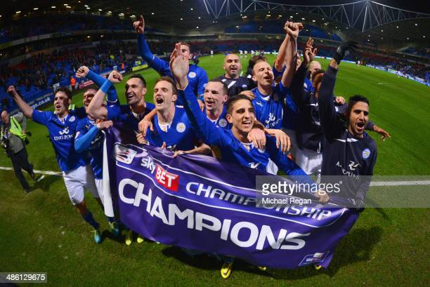 Leicester City players celebrate winning the Championship after the Sky Bet Championship match between Bolton Wanderers and Leicester City at Reebok...
