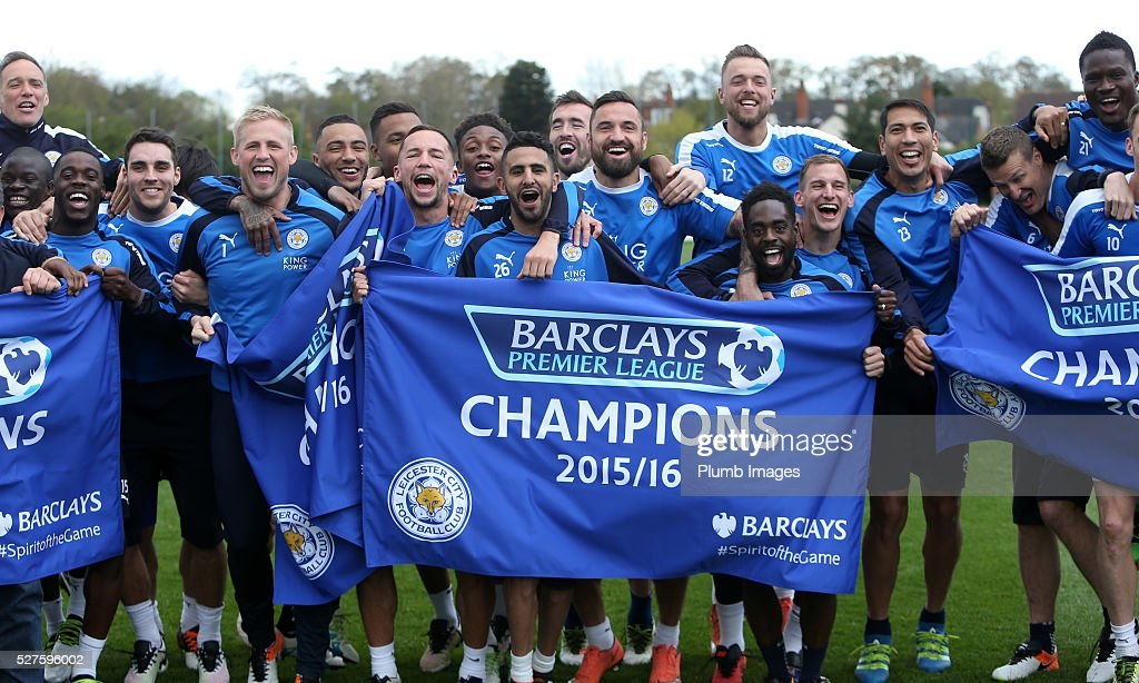 Leicester City players celebrate winning the Premier ...