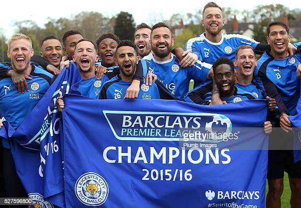 Leicester City players celebrate winning the Premier League title during a training session at the Leicester City Training Ground on May 3 2016 in...
