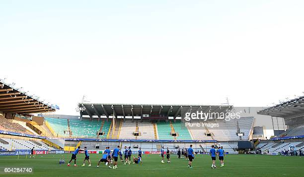 Leicester City players during the training session at Jan Breydel Stadium on September 13 2016 in Bruges Belgium