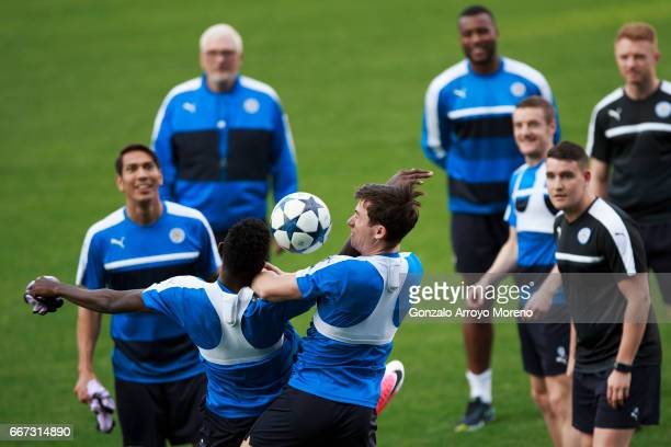 Leicester City players excersise during a training session ahead of the UEFA Champions League Quarter Final First leg match between Club Atletico de...