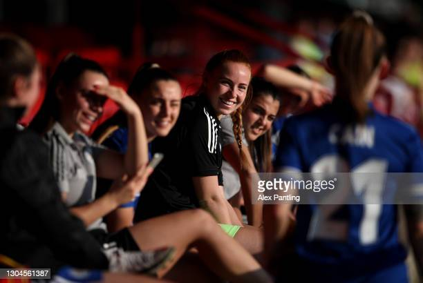 Leicester City players in conversation on the bench during the Barclays FA Women's Championship match between Leicester City Women and Crystal Palace...