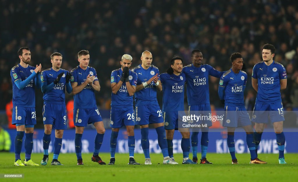 Leicester City players look despondetn during the penalty shoot out during the Carabao Cup Quarter-Final match between Leicester City and Manchester City at The King Power Stadium on December 19, 2017 in Leicester, England.