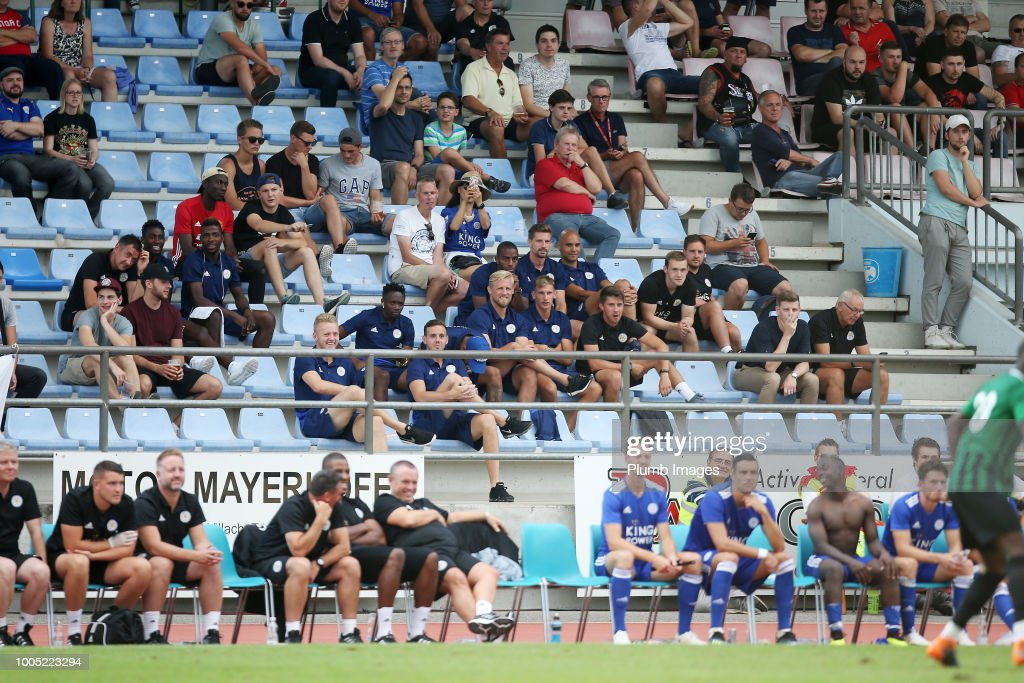 Leicester City players not involved in the action watch on from the stand during the pre-season friendly match between Leicester City and Akhisarspor at Stadion Villach on July 25th, 2018 in Villach, Austria.