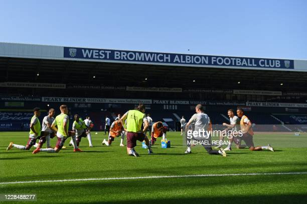 Leicester City players stretch ahead of the English Premier League football match between West Bromwich Albion and Leicester City at The Hawthorns...