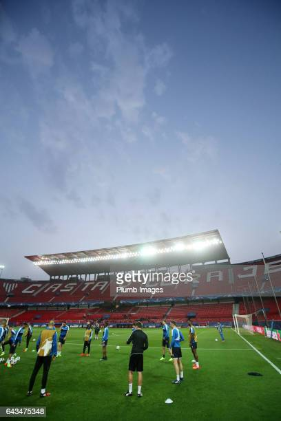 Leicester City players train at Estadio Ramon Sanchez Pizjuan ahead of the UEFA Champions League Round of 16 First Leg between Seville FC and...