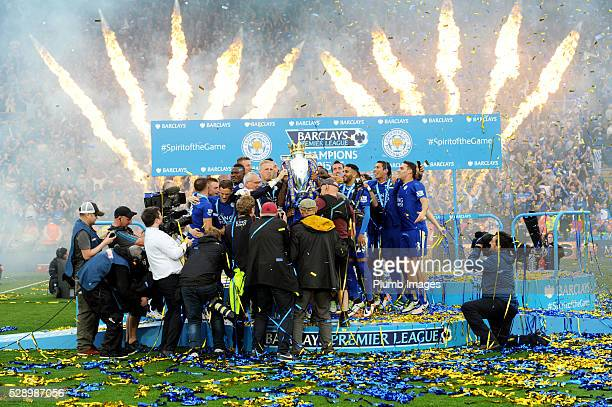 Leicester City raise the trophy after the Barclays Premier League match between Leicester City and Everton at the King Power Stadium on May 6th 2016...