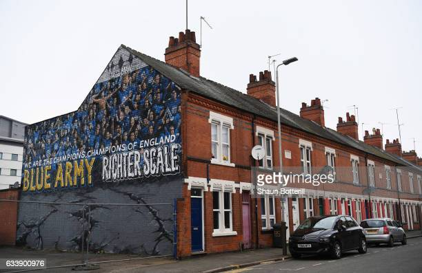 Leicester City related street art is seen on the side of a house prior to the Premier League match between Leicester City and Manchester United at...